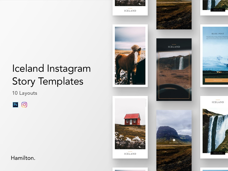 Product - Iceland Instagram Story Templates photography stories instagram story story photoshop templates template creative market minimal instagram iceland travel unsplash design ui