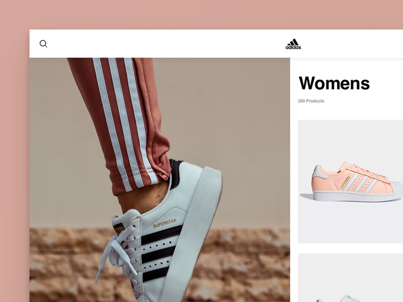 Layout 3.1 | Adidas Concept 1 Sneak Peak fashion woman pink e-commerce desktop adidas superstar trainers shoes ux sketch website unsplash minimal ui