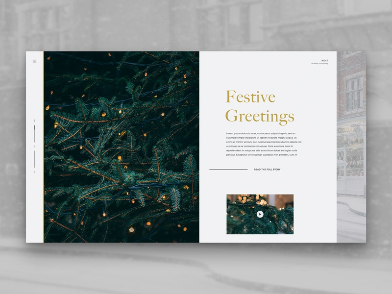 Layout 3.9 | Festive Greetings gold article shopping lights line green holidays festive 2018 christmas photoshop ux mobile website unsplash minimal ui