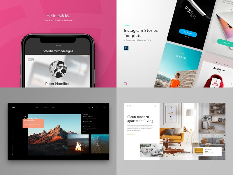 My 2018 (6 months) on Dribbble landing page interior design website ux unsplash minimal ui instagram template hellodribble review dribbble top4shots 2018