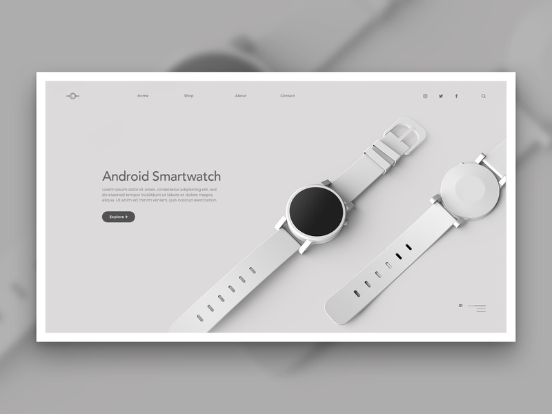 Layout 4.4 | Android Smartwatch render google grey smart watch smartwatch android ecommerce design photoshop ux mobile website unsplash minimal ui