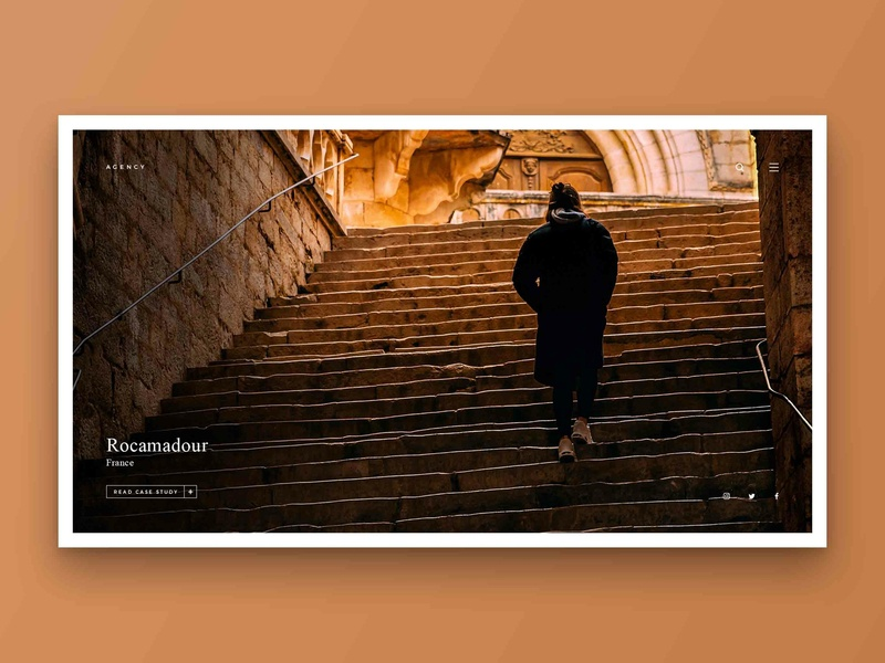 Layout 4.5 | Agency Homepage case study agency steps rocamadour golden brown france landing article design ux photoshop website unsplash minimal ui