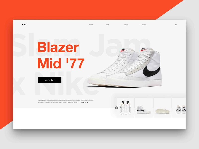 Layout 4.6 | Nike Blazer '77 landing hypebeast hype mid jam slam ecommerce design photoshop ux website ui minimal orange trainers shoes blazer nike