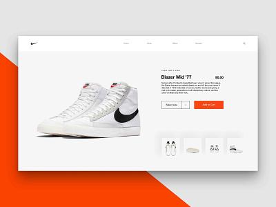 Layout 4.7 | Nike Blazer '77 Product 1 adidas ux sports grey shop ecommerce shoes mid sneakers trainers orange 77 blazer nike design photoshop website unsplash ui minimal