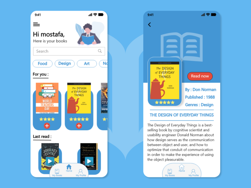 Books Application app design ux ui