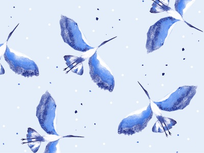 Flock travel dots photoshop playful summer pattern illustration birds blue watercolor