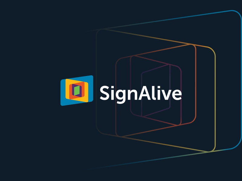 SignAlive device screens screen devices responsive branding minimal simple logo design logo