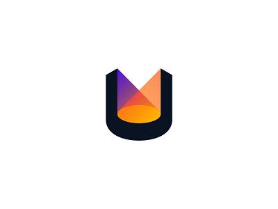 U & Stage & Lights minimal monogram identity simple icon branding logo design logo lights light stage letter u