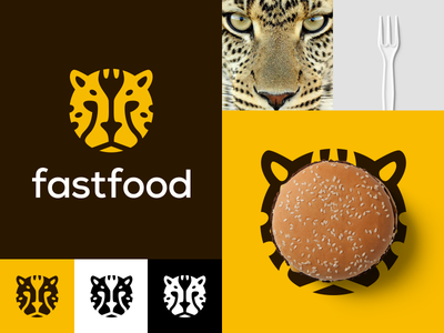 Fastfood fast food logo design animal hamburger restaurant cat fork fastfood cheetah food fast logo