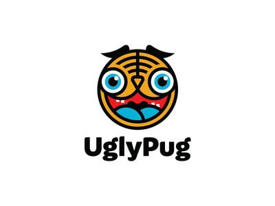 UglyPug logo design logo ugly face head animal pet bulldog dog pug