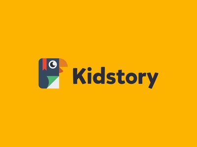 Kidstory logo design logo app mobile sound voice reading read story parrot book