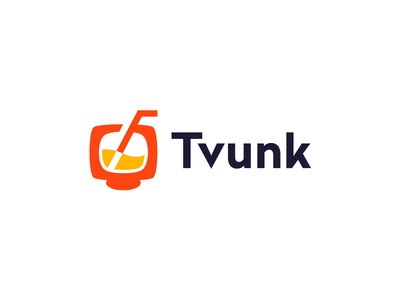 Tvunk logo design logo beverage alcoholic drink pipette screen television tv