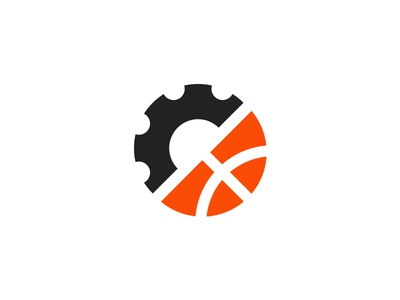 Work & Play logo design logo simple basketball ball play game job worker work gear cog