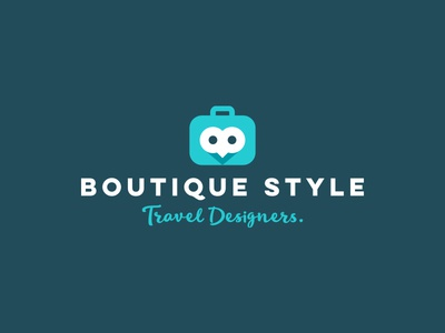 Boutique Style logo design cute bird bag luggage agency travel owl logorado logo