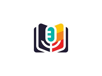Book & Mic logo design radio podcast paper sound microphone mic book branding logo