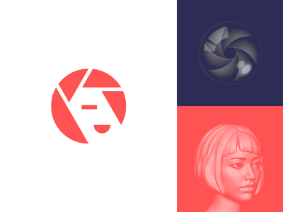 Camera (Shutter) + Girl simple minimal head woman lens photography photo shutter camera logo design logo