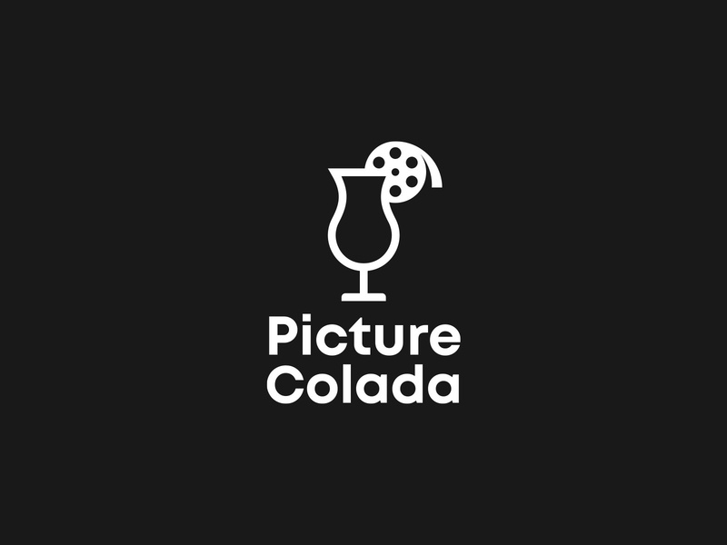 Picture Colada logo design logo picture glass pina colada film roll movie production film cocktail
