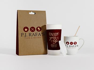 P.J Rafa Café & Bistro restaurant logo design coffee cafe bistro