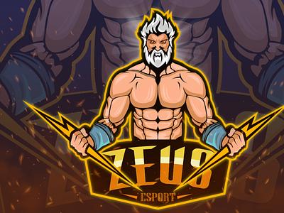 Thunder God Zeus hunterlancelot gaming logo logo design lightning thunder human gaming quarantine art flat design business mascot flat design brand logo character cartoon caricature anime