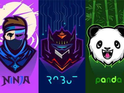 Cyborg, Robot & Happy Panda gaming lightning flat illustration modern panda logo happy panda robot cyborg branding mascot logo design design cartoon logo quarantine character caricature anime hunterlancelot