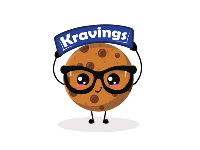 Cookie Kravings start up biscuit brand style brand identity business client work clean design logomaker mascotlogo cookie cartoon flat design branding brand mascot logo design quarantine logo character hunterlancelot