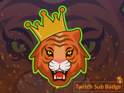 Tiger Twitch Sub Badge logodesign brand design inspration logo idea mascotlogo tiger mascot tigers badge twitch tiger design mascot logo design anime character cartoon caricature quarantine logo hunterlancelot