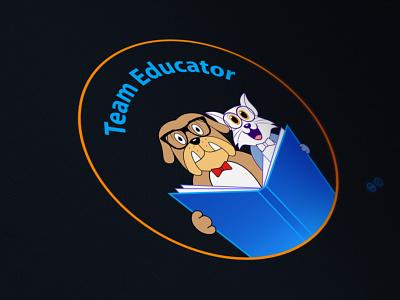Team Educator study teacher brand identity branding mascotlogo jerry tom dog cat brand design mascot logo design anime character cartoon caricature quarantine logo hunterlancelot
