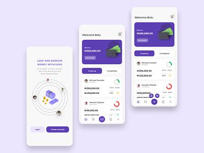 Peer-To-Peer Fintech App mobileapp moneylending fintech beautiful uidesign app figmaafrica ui figmanigeria design