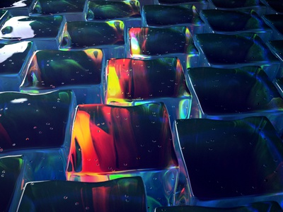 Ice cube field neon colors lights ice global illumination occasionalrender styleframe 3d redshift3d cinema4d
