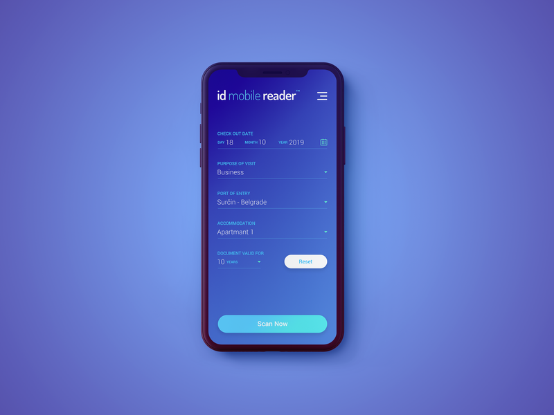 Home Screen for ID Mobile Reader app minimal logo iphone ios ui flat android teget design mobile app hotel app scan document scanner reader id passport travel document id mobile reader