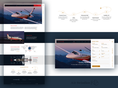 Homepage with an expandable sidebar for an air charter company