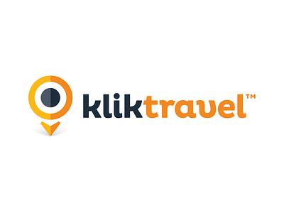 Klik Travel logo flat vector design branding teget click mouse pointer cursor map pin logo klik travel