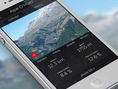 Tour De France Climb Overview iphone app stats display tour de france data statistics