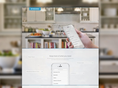 Stocked Landing Page stocked mobile iphone app clean list items categories landing page website splash