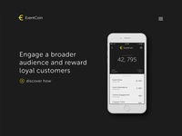 EventCoin Concept app product splash landing eventcoin