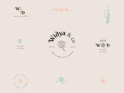 """Wydia & CO"" Visual Identity bouquets weddings vector design branding logo typography"