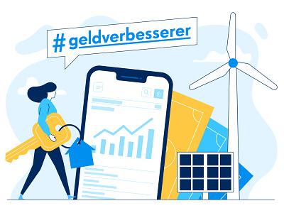 renewable energies app money phone mobile app woman sunpower wind energy solar energy vector flat people character illustration 2d