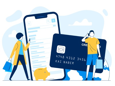 mobile shopping mobile banking bank app ui money app fintech creditcard shopping app vector flat people character illustration 2d