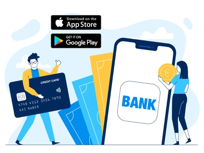Banking App icon finance app banking app creditcard money fintech ui vector flat people character illustration 2d
