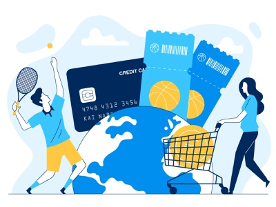 Travel and Sports banking app bank world shopping tennis basketball sports finance app fintech creditcard vector flat character illustration 2d
