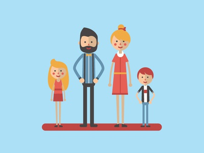 happy family parents simple people flat woman man kid family character design illustration 2d