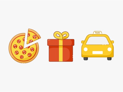 Finance App Icons app present gift taxi pizza icon infographic simple flat design illustration 2d
