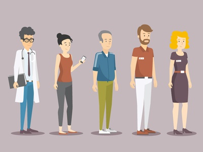 Character Set character concept explainer graphics woman man flat vector people character design illustration 2d