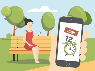 Mobile App clock calendar charactedesign girl iphone nature ui concept phone park woman app vector people character design illustration 2d