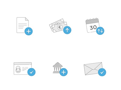 Iconset ui graphics icons pack fintech finance 2d illustrator iconset illustration money letter icon