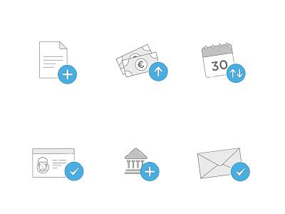 Iconset ui graphics icons pack fintech finance 2d illustrator iconset illustration money letter icon