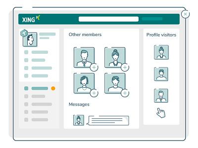 Xing Website branding ui website flat vector graphics people character design illustration 2d