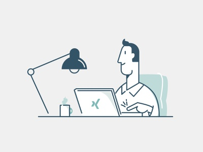 Xing Character office work laptop desk flat man vector people character illustration 2d