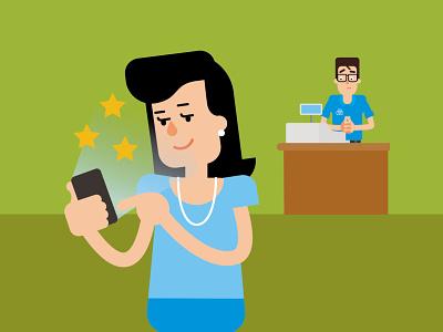 sales channels stars sales mobile woman app flat man vector people character design illustration 2d