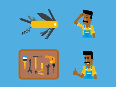 Tools builder industrial construction worker pocket knife tools flat vector man people character design illustration 2d